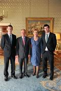 27 September 2011; Dublin's Kevin Nolan and Michael Darragh MacAuley with President Mary McAleese and her husband Senator Martin McAleese during the All-Ireland Football Champions visit to Áras an Uachtaráin, Phoenix Park, Dublin. Picture credit: Ray McManus / SPORTSFILE