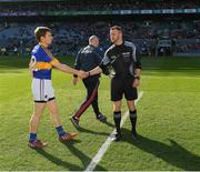 8 April 2017; Tipperary captain Brian Fox shakes hands with referee Anthony Nolan before the Allianz Football League Division 3 Final match between Louth and Tipperary at Croke Park in Dublin. Photo by Ray McManus/Sportsfile