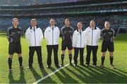 8 April 2017; Referee Anthony Nolan, centre, with linesmen Niall Ward, left, and James Molloy, right, and his umpires, from left, Peter Case, David Case, Donal O'Keeffe and Damien Byrne, before the Allianz Football League Division 3 Final match between Louth and Tipperary at Croke Park in Dublin. Photo by Ray McManus/Sportsfile