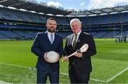 10 April 2017; In attendance at the launch of the Littlewoods Ireland GAA Go Games Provincial Days in Croke Park are Geoff Scully, Managing Director, Littlewoods Ireland, and Uachtarán Chumann Lúthchleas Gael Aogán Ó Fearghail. At the event Littlewoods Ireland were joined by their ambassador and Waterford hurler Austin Gleeson, Dublin Ladies footballer Noelle Healy, Kildare camogie player Siobhan Hurley and Kerry footballer Donnchadh Walsh. The GAA Go Games Provincial Days is an initiative which will see 7,000 children take part in mini versions of hurling and football blitzes over the course of two weeks in April. Photo by Ramsey Cardy/Sportsfile