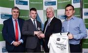 10 April 2017; Joe O'Donoghue of DKIT and Cavan recieves his award from Uachtarán Chumann Lúthchleas Gael Aogán Ó Fearghail alongside Gerry Tully, Chairman of Comhairle Ardoideachais, left, and Ger Keville of Independent.ie during the Independent.ie HE GAA Football & Hurling Rising Stars Presentation at Croke Park in Dublin.Uachtarán Chumann Lúthchleas Gael Aogán Ó Fearghail Photo by Eóin Noonan/Sportsfile
