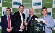 10 April 2017; Michael Breen of UCC and Tipperary recieves his award from Uachtarán Chumann Lúthchleas Gael Aogán Ó Fearghail alongside Gerry Tully, Chairman of Comhairle Ardoideachais, left, and Ger Keville of Independent.ie during the Independent.ie HE GAA Football & Hurling Rising Stars Presentation at Croke Park in Dublin.Uachtarán Chumann Lúthchleas Gael Aogán Ó Fearghail Photo by Eóin Noonan/Sportsfile
