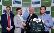 10 April 2017; Michael O'Neill of MICL and Clare recieves his award from Uachtarán Chumann Lúthchleas Gael Aogán Ó Fearghail alongside Gerry Tully, Chairman of Comhairle Ardoideachais, left, and Ger Keville of Independent.ie during the Independent.ie HE GAA Football & Hurling Rising Stars Presentation at Croke Park in Dublin.Uachtarán Chumann Lúthchleas Gael Aogán Ó Fearghail Photo by Eóin Noonan/Sportsfile
