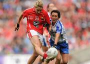 25 September 2011; Orla Finn, Cork, in action against Christina Reilly, Monaghan. TG4 All-Ireland Ladies Senior Football Championship Final, Cork v Monaghan, Croke Park, Dublin. Picture credit: Pat Murphy / SPORTSFILE