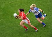 25 September 2011; Geraldine O'Flynn, Cork, in action against Ciara McAnespie, Monaghan. TG4 All-Ireland Ladies Senior Football Championship Final, Cork v Monaghan, Croke Park, Dublin. Picture credit: Pat Murphy / SPORTSFILE