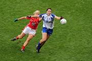 25 September 2011; Cathriona McConnell, Monaghan, in action against Deirdre O'Reilly, Cork. TG4 All-Ireland Ladies Senior Football Championship Final, Cork v Monaghan, Croke Park, Dublin. Picture credit: Pat Murphy / SPORTSFILE