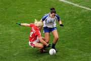 25 September 2011; Cathriona McConnell, Monaghan, in action againt Deirdre O'Reilly, Cork. TG4 All-Ireland Ladies Senior Football Championship Final, Cork v Monaghan, Croke Park, Dublin. Picture credit: Pat Murphy / SPORTSFILE