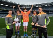 12 April 2017; Comedian, TV host and 1987 All-Ireland winner for Down, Patrick Kielty was joined by a host of GAA All-Stars at Croke Park today to launch Kellogg's GAA Cúl Camps 2017. Kellogg's is on a mission for the promotion of nutrition to fuel active play. Last year, 127,000 children took part in Ireland's largest summer camps enjoying a week of fun, GAA coaching, nutrition education and a free kit. kelloggsculcamps.gaa.ie for information and registration. At the launch in Croke Park, Dublin, are Kellogg's GAA Cúl Camps ambassadors Lee Keegan, Mayo footballer, and Tipperary hurler Seamus Callanan, with, from left, Lilyanna Healy, age 9 Tom Healy, age 11, and Oliver Healy, age 8. Photo by Stephen McCarthy/Sportsfile