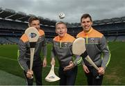 12 April 2017; Comedian, TV host and 1987 All-Ireland winner for Down, Patrick Kielty was joined by GAA All-Stars and Kellogg's GAA Cúl Camps ambassadors Tipperary hurler Seamus Callanan of Tipperary, left, and Lee Keegan of Mayo at Croke Park today to launch Kellogg's GAA Cúl Camps 2017. Kellogg's is on a mission for the promotion of nutrition to fuel active play. Last year, 127,000 children took part in Ireland's largest summer camps enjoying a week of fun, GAA coaching, nutrition education and a free kit. kelloggsculcamps.gaa.ie for information and registration. Photo by Stephen McCarthy/Sportsfile