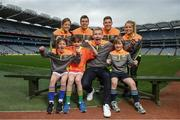 12 April 2017; Comedian, TV host and 1987 All-Ireland winner for Down, Patrick Kielty was joined by a host of GAA All-Stars at Croke Park today to launch Kellogg's GAA Cúl Camps 2017. Kellogg's is on a mission for the promotion of nutrition to fuel active play. Last year, 127,000 children took part in Ireland's largest summer camps enjoying a week of fun, GAA coaching, nutrition education and a free kit. kelloggsculcamps.gaa.ie for information and registration. At the launch in Croke Park, Dublin, are Kellogg's GAA Cúl Camps ambassadors, from left, Wexford camogie star Kate Kelly, Mayo footballer Lee Keegan, Comedian, TV host and 1987 All-Ireland winner for Down, Patrick Kielty, Tipperary hurler Seamus Callanan and Monaghan Ladies Footballer Caoimhe Mohan with Lilyanna Healy, age 9, Tom Healy, age 11, and Oliver Healy, age 8, all from Rathmines, Dublin. Photo by Stephen McCarthy/Sportsfile