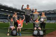 12 April 2017; Comedian, TV host and 1987 All-Ireland winner for Down, Patrick Kielty was joined by a host of GAA All-Stars at Croke Park today to launch Kellogg's GAA Cúl Camps 2017. Kellogg's is on a mission for the promotion of nutrition to fuel active play. Last year, 127,000 children took part in Ireland's largest summer camps enjoying a week of fun, GAA coaching, nutrition education and a free kit. kelloggsculcamps.gaa.ie for information and registration. At the launch in Croke Park, Dublin, are Kellogg's GAA Cúl Camps ambassadors, from left, Wexford camogie star Kate Kelly, Mayo footballer Lee Keegan, Tipperary hurler Seamus Callanan and Monaghan Ladies Footballer Caoimhe Mohan, with Lilyanna Healy, age 9, Tom Healy, age 11, and Oliver Healy, age 8, all from Rathmines, Dublin. Photo by Stephen McCarthy/Sportsfile
