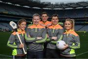 12 April 2017; Comedian, TV host and 1987 All-Ireland winner for Down, Patrick Kielty was joined by a host of GAA All-Stars at Croke Park today to launch Kellogg's GAA Cúl Camps 2017. Kellogg's is on a mission for the promotion of nutrition to fuel active play. Last year, 127,000 children took part in Ireland's largest summer camps enjoying a week of fun, GAA coaching, nutrition education and a free kit. kelloggsculcamps.gaa.ie for information and registration. At the launch in Croke Park, Dublin, are Kellogg's GAA Cúl Camps ambassadors, from left, Wexford camogie star Kate Kelly, Comedian, TV host and 1987 All-Ireland winner for Down, Patrick Kielty, Tipperary hurler Seamus Callanan, Mayo footballer Lee Keegan and Monaghan Ladies Footballer Caoimhe Mohan. Photo by Stephen McCarthy/Sportsfile