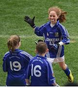 12 April 2017; Leah O'Neill, representing St. Ronan's GAA Club, Co. Roscommon, is congratulated by team-mates after scoring a point during the Go Games Provincial Days in partnership with Littlewoods Ireland Day 3 at Croke Park in Dublin. Photo by Cody Glenn/Sportsfile