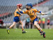 13 April 2017; Jody Canning, nephew of Galway senior hurler Joe Canning, representing Portumna GAA Club, Co. Galway, celebrates after scoring a point during the Go Games Provincial Days in partnership with Littlewoods Ireland Day 4 at Croke Park in Dublin. Photo by Seb Daly/Sportsfile