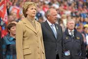 25 September 2011; President of Ireland Mary McAleese alongside Pat Quill, Uachtaran Cumann Peil Gael na mBan, before the game. TG4 All-Ireland Ladies Senior Football Championship Final, Cork v Monaghan, Croke Park, Dublin. Picture credit: Paul Mohan / SPORTSFILE