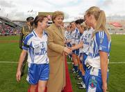 25 September 2011; Monaghan captain Sharon Courtney, left, introduces her team to President of Ireland Mary McAleese before the game. TG4 All-Ireland Ladies Senior Football Championship Final, Cork v Monaghan, Croke Park, Dublin. Picture credit: Paul Mohan / SPORTSFILE