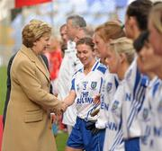 25 September 2011; President of Ireland Mary McAleese greets Monaghan captain Sharon Courtney before the game. TG4 All-Ireland Ladies Senior Football Championship Final, Cork v Monaghan, Croke Park, Dublin. Picture credit: Paul Mohan / SPORTSFILE