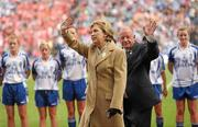 25 September 2011; President of Ireland Mary McAleese alongside Pat Quill, Uachtaran Cumann Peil Gael na mBan. TG4 All-Ireland Ladies Senior Football Championship Final, Cork v Monaghan, Croke Park, Dublin. Picture credit: Paul Mohan / SPORTSFILE
