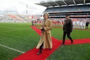 25 September 2011; President of Ireland Mary McAleese leaves the field after meeting the teams and officials. TG4 All-Ireland Ladies Senior Football Championship Final, Cork v Monaghan, Croke Park, Dublin. Picture credit: Pat Murphy / SPORTSFILE