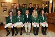 1 October 2011; In attendance at a young rider eventing European Championship team Prize giving ceremony are back row from left, Team Sponsor Tom McGuinness, Horseware Ireland, Show Jumping trainer Ian Fearon, Young Rider Shane Power, Sallins, Co. Kildare, team Veterinarian Will Lawlor, Young Rider Alex Houston, Portrush, Co. Antrim and Dressage coach Heike Holstein. Front row from left, Young Rider David Hanigan, Clonmel Co. Tipperary, Peter Hanigan, Clonmel, Co. Tipperary, Team Manager Sally Corscadden, Young Rider Melaine Young, Maynooth, Co. Kildare and Young Rider Alex Donoghue, Gorey, Co. Wexford. Tattersalls House, Ratoath, Co. Meath. Picture credit: Barry Cregg / SPORTSFILE