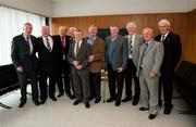 3 October 2011; The FAI unveiled a commemorative display in honour of former international Arthur Fitzsimons at the FAI Headquarters. At the unveiling are former Shelbourne F.C. players of the 1950's and 1960's, from left, Shay Weafer, Theo Dunne, Eric Barber, Andy Fitzpatrick, Arthur Fitzsimons, Freddy Strahan, Martin Colfer, Christy Doyle, Joe Wilson and Paddy Roberts. FAI Headquarters, Abbotstown, Dublin. Picture credit: Barry Cregg / SPORTSFILE