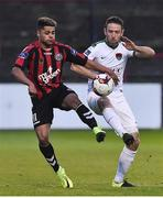 14 April 2017; Alan Bennett of Cork City in action against Kaleem Simon of Bohemians during the SSE Airtricity League Premier Division match between Bohemians and Cork City at Dalymount Park in Dublin. Photo by David Maher/Sportsfile