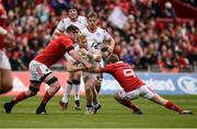 15 April 2017; Stuart Olding of Ulster is tackled by Donnacha Ryan, left, and Angus Lloyd of Munster during the Guinness PRO12 Round 20 match between Munster and Ulster at Thomond Park in Limerick. Photo by Diarmuid Greene/Sportsfile
