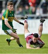 15 April 2017; Paul Mannion of Galway in action against Gavin White of Kerry during the EirGrid GAA Football All-Ireland U21 Championship Semi-Final match between Galway and Kerry at Cusack Park in Ennis, Co Clare. Photo by Ray Ryan/Sportsfile