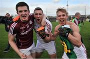 15 April 2017; Galway players Cein D'Arcy, Ronan O Beolain and Liam Kelly celebrate after the EirGrid GAA Football All-Ireland U21 Championship Semi-Final match between Galway and Kerry at Cusack Park in Ennis, Co Clare. Photo by Ray Ryan/Sportsfile