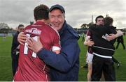 15 April 2017; Galway selector Val Daly congratulates his son and captain Micheal after the EirGrid GAA Football All-Ireland U21 Championship Semi-Final match between Galway and Kerry at Cusack Park in Ennis, Co Clare. Photo by Ray Ryan/Sportsfile