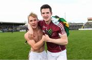 15 April 2017; Liam Kelly, left, and Cein D'Arcy of Galway celebrate after the EirGrid GAA Football All-Ireland U21 Championship Semi-Final match between Galway and Kerry at Cusack Park in Ennis, Co Clare. Photo by Ray McManus/Sportsfile