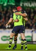 15 April 2017; Barry Daly, 23, is congratulated by his Leinster team-mate Josh van der Flier after scoring his side's fifth try during the Guinness PRO12 Round 20 match between Connacht and Leinster at the Sportsground in Galway. Photo by Stephen McCarthy/Sportsfile