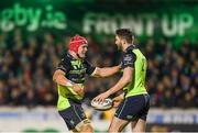 15 April 2017; Barry Daly, right, is congratulated by his Leinster team-mate Josh van der Flier after scoring his side's fifth try during the Guinness PRO12 Round 20 match between Connacht and Leinster at the Sportsground in Galway. Photo by Stephen McCarthy/Sportsfile