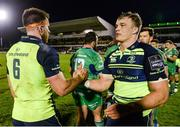 15 April 2017; Leinster's Dominic Ryan, left, and Josh van der Flier congratulate each other following their side's victory during the Guinness PRO12 Round 20 match between Connacht and Leinster at the Sportsground in Galway. Photo by Seb Daly/Sportsfile