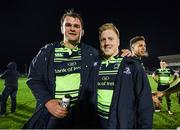 15 April 2017; Rhys Ruddock, left, and James Tracy of Leinster following the Guinness PRO12 Round 20 match between Connacht and Leinster at the Sportsground in Galway. Photo by Stephen McCarthy/Sportsfile