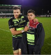15 April 2017; Josh van der Flier, left, and Luke McGrath of Leinster following the Guinness PRO12 Round 20 match between Connacht and Leinster at the Sportsground in Galway. Photo by Stephen McCarthy/Sportsfile