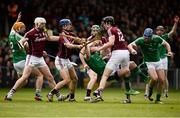 16 April 2017; Seamus Hickey of Limerick in action against Joe Canning, left, Johnny Coen, centre, and Joseph Cooney of Galway during the Allianz Hurling League Division 1 Semi-Final match between Limerick and Galway at the Gaelic Grounds in Limerick. Photo by Diarmuid Greene/Sportsfile