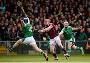 16 April 2017; Conor Whelan of Galway shoots towards goal despite the efforts of Mike Casey, left, and Seamus Hickey of Limerick during the Allianz Hurling League Division 1 Semi-Final match between Limerick and Galway at the Gaelic Grounds in Limerick. Photo by Diarmuid Greene/Sportsfile