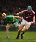 16 April 2017; Conor Cooney of Galway wins possession ahead of Richie English of Limerick on his way to scoring a goal in the 56th minute during the Allianz Hurling League Division 1 Semi-Final match between Limerick and Galway at the Gaelic Grounds in Limerick. Photo by Ray McManus/Sportsfile