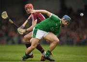 16 April 2017; Mike Casey of Limerick in action against Conor Whelan of Galway during the Allianz Hurling League Division 1 Semi-Final match between Limerick and Galway at the Gaelic Grounds in Limerick. Photo by Ray McManus/Sportsfile