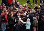 16 April 2017; Aisling Magner, from Ashford, left, and Niamh Mullins, from Ardagh, Co Limerick, simultaneously take a selfie with Joe Canning of Galway after the Allianz Hurling League Division 1 Semi-Final match between Limerick and Galway at the Gaelic Grounds in Limerick. Photo by Diarmuid Greene/Sportsfile