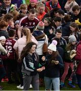 16 April 2017; Aisling Magner, from Ashford, left, and Niamh Mullins, from Ardagh, Co. Limerick react after each taking a selfie with Joe Canning of Galway after the Allianz Hurling League Division 1 Semi-Final match between Limerick and Galway at the Gaelic Grounds in Limerick. Photo by Diarmuid Greene/Sportsfile