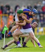 16 April 2017; Jason Forde of Tipperary is tackled by Aidan Nolan of Wexford during the Allianz Hurling League Division 1 Semi-Final match between Wexford and Tipperary at Nowlan Park in Kilkenny. Photo by Ramsey Cardy/Sportsfile