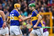 16 April 2017; Noel McGrath of Tipperary celebrates with Seamus Callanan, left, after scoring his side's second goal during the Allianz Hurling League Division 1 Semi-Final match between Wexford and Tipperary at Nowlan Park in Kilkenny. Photo by Ramsey Cardy/Sportsfile