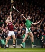 16 April 2017; Daithi Burke of Galway in action against Gearoid Hegarty of Limerick during the Allianz Hurling League Division 1 Semi-Final match between Limerick and Galway at the Gaelic Grounds in Limerick. Photo by Diarmuid Greene/Sportsfile