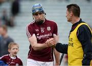 16 April 2017; Conor Cooney of Galway celebrates with selector Noel Larkin after the Allianz Hurling League Division 1 Semi-Final match between Limerick and Galway at the Gaelic Grounds in Limerick. Photo by Diarmuid Greene/Sportsfile