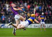 16 April 2017; Paul Morris of Wexford has a shot blocked by PadraicMaher of Tipperary during the Allianz Hurling League Division 1 Semi-Final match between Wexford and Tipperary at Nowlan Park in Kilkenny. Photo by Ramsey Cardy/Sportsfile