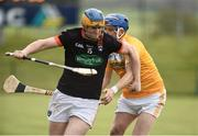 16 April 2017; Dylan McKenna of Armagh in action against  Paul Shiels of Antrim during the Ulster GAA Hurling Senior Championship Final match between Antrim and Armagh at the Derry GAA Centre of Exellence in Owenbeg, Derry. Photo by Oliver McVeigh/Sportsfile