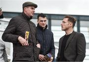 16 April 2017; Dublin footballer Paul Flynn, right, in conversation with Meath footballers and cousins Shane O'Rourke, left, and Paddy O'Rourke in attendance during the Fairyhouse Easter Festival at Fairyhouse Racecourse in Ratoath, Co Meath. Photo by Cody Glenn/Sportsfile