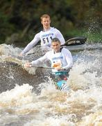 8 October 2011; Peter Egan, front, Salmon Leap Club, and partner Neil Flenming, Celbridge, steer their way through the Straffan Weir, in their Senior Racing Kayak Doubles K2 during the 2011 Liffey Descent, Kildare - Dublin. Picture credit: Barry Cregg / SPORTSFILE
